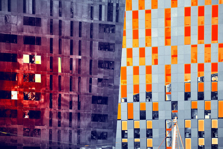 Disturb No People Orange Color Full Frame Pattern Architecture Backgrounds Transportation Multi Colored Built Structure Day Outdoors Close-up Building Exterior Red Wall - Building Feature Repetition Striped Mode Of Transportation Modern City