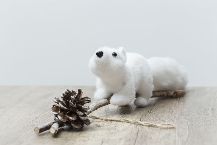 Holiday decorations Christmas White Animal Background White Background Indoors Decoration Holiday Fun Play Playing Ornament Ornate Vacation Kids Neutral Stuffed Toy Color Detail Close-up Indoor