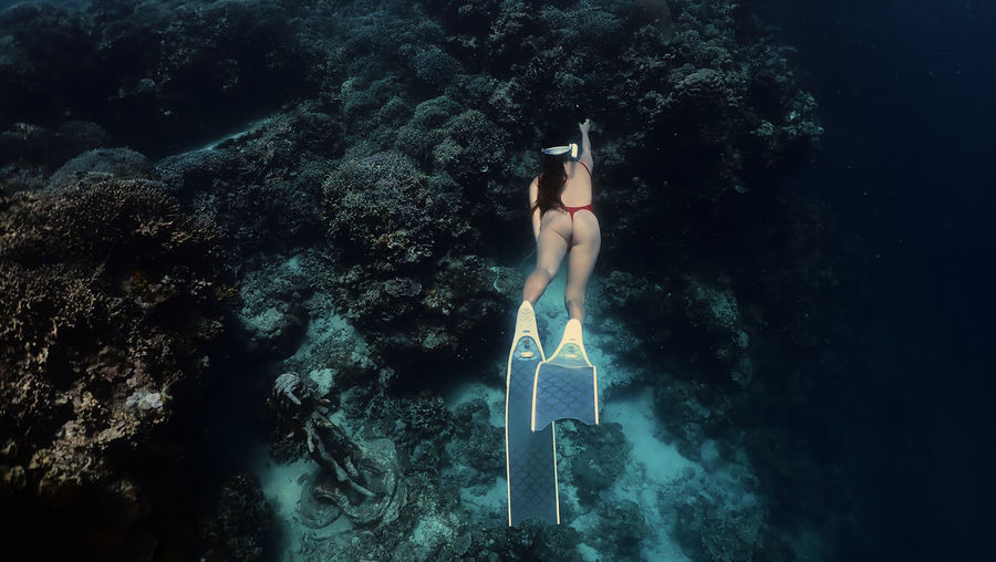 Sexy girl freediving