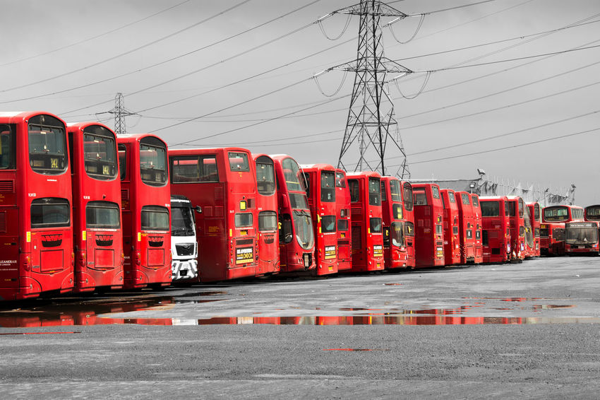 At The End Black And Red Black And White Broke Down Bunch Of Bus Bus Lines Buses In Line BYOPaper! Deadend Double Decker EyeEmNewHere Flock Of Bus London Bus Londonbus No People Only Red Parking Reflection In Puddle Resting Terminated Termination Transportation Travel White And Red