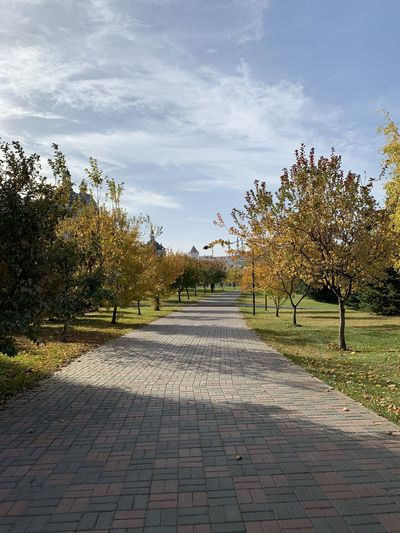 Footpath amidst trees in park against sky during autumn