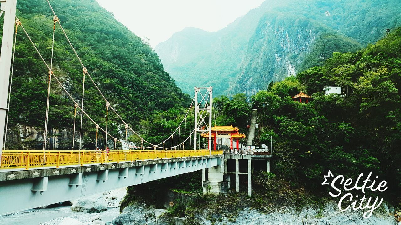 bridge - man made structure, mountain, connection, nature, transportation, river, day, architecture, outdoors, tree, built structure, green color, beauty in nature, mountain range, growth, no people, water, scenics, sky