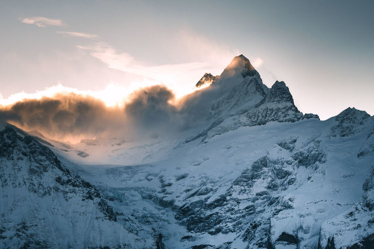 The Week On EyeEm Alps Beauty In Nature Cold Temperature Day Glacier Glow Glowing Grindelwald Mountain Mountain Range Nature No People Outdoors Scenics Sky Snow Snowcapped Mountain Sunrise Sunset Switzerland Tranquil Scene Tranquility Weather Winter
