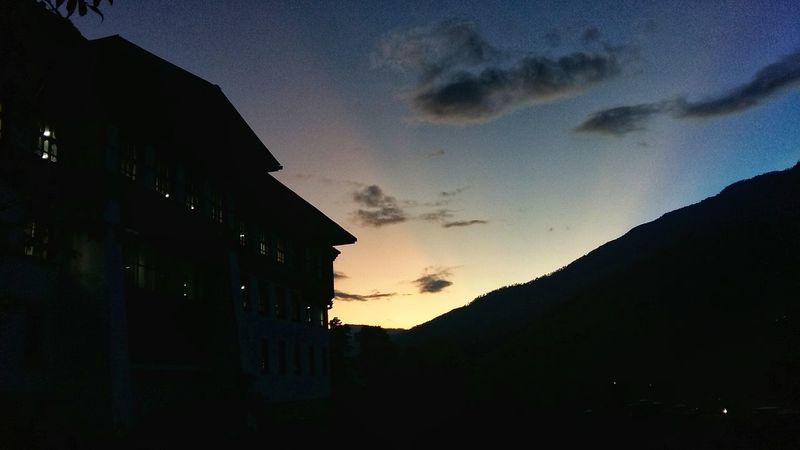 Nightsky Silhouette Bhutanese Architecture Building Exterior Bhutan Thimphu