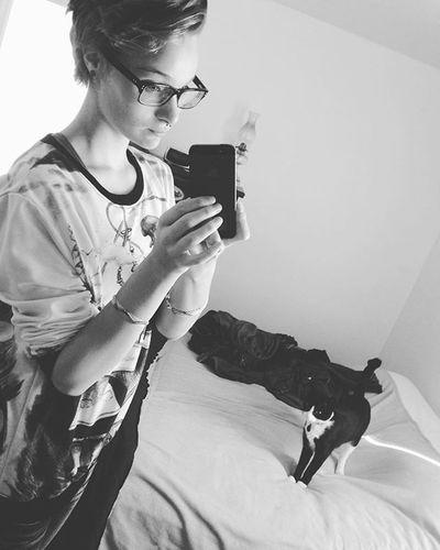 DJ and I are life, just saying. Selfie Mirrorselfie Cat Dj Kitty Littlegirl Yay Blackandwhitecat Blackandwhitepicture Yup Us Catlove