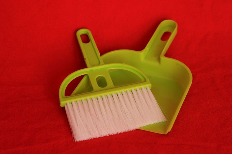 Too bad; I am the only one who uses this lovely tiny set. Brush Cleaning Tools Dustpan Dustpan And Brush, Green Colour Green On Red Red Background Red Colour Synthetic Selective Focus Close-up Studio Shot Red Plastic Contrast Colours Colour Of Life TakeoverContrast