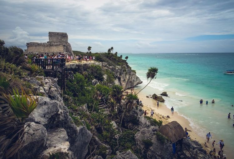 Tulum Mexico Sea Water Beach Land Sky Horizon Over Water This Is Latin America Scenics - Nature Horizon Beauty In Nature Nature Cloud - Sky Trip Outdoors