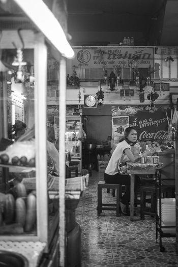 Boy sitting in restaurant