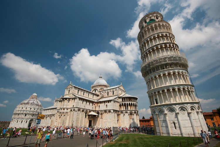 Adult Ancient Civilization Architecture Building Exterior Built Structure City Cloud - Sky Day Dome History Large Group Of People Leisure Activity Low Angle View Men Outdoors People Pisa Real People Sky Tourism Travel Travel Destinations Vacations Women
