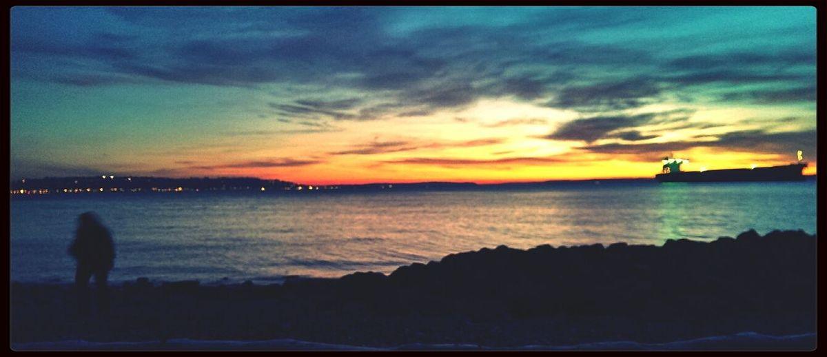 Import. Shoreline Puget Sound Ship Sundown