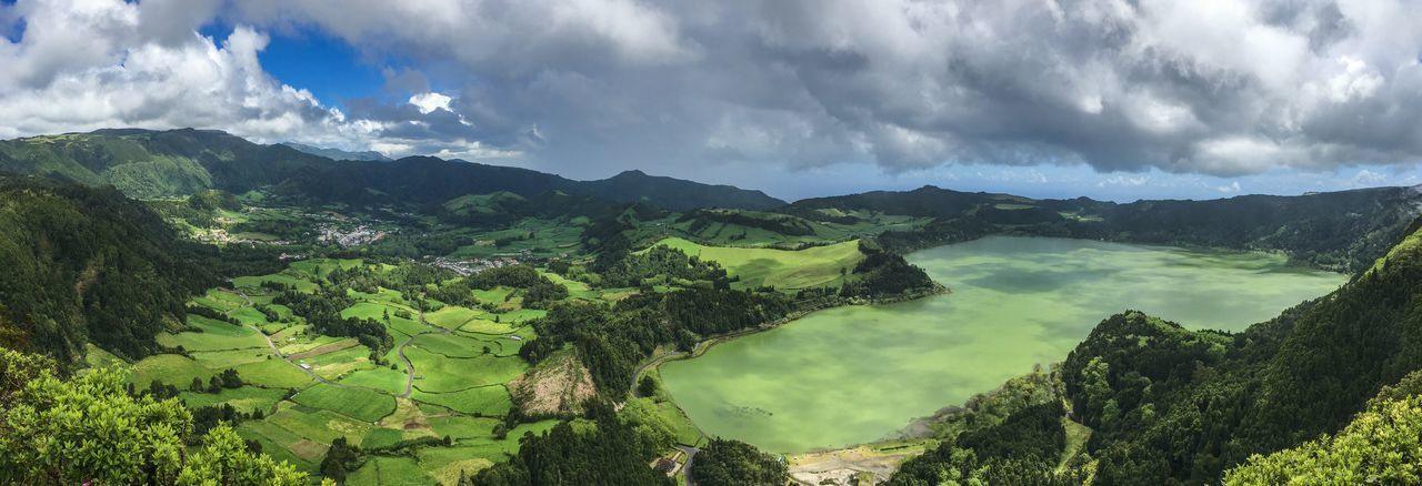Agriculture Azores Beauty In Nature Calderaview Cloud - Sky Day Lagoon Lake Landscape Mountain Mountain Range Nature No People Outdoors Panorama Panoramic Physical Geography Portugal Scenics Sky Tranquil Scene Tranquility Tree Water EyeEmNewHere Sommergefühle