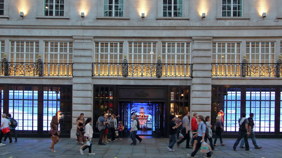 busy shopping street London Architecture Balcony Building Building Exterior Built Structure City City Life Culture Day Entrance Façade Glass Glass - Material Historic Lifestyles Low Angle View Pattern Peopleshopping Regentstreet Repetition Shopping Urban Window