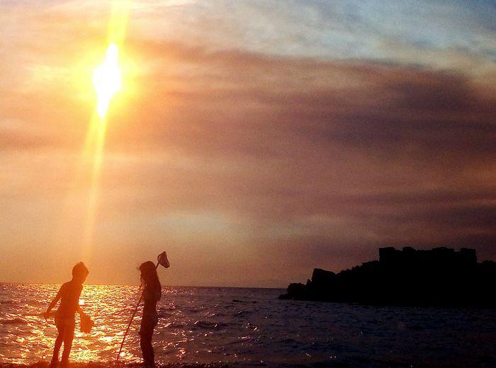 x2 Water Sea Sunset Beach Silhouette Sun Sky Horizon Over Water