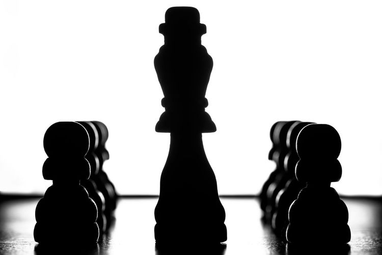 Close-up of silhouette chess against white background