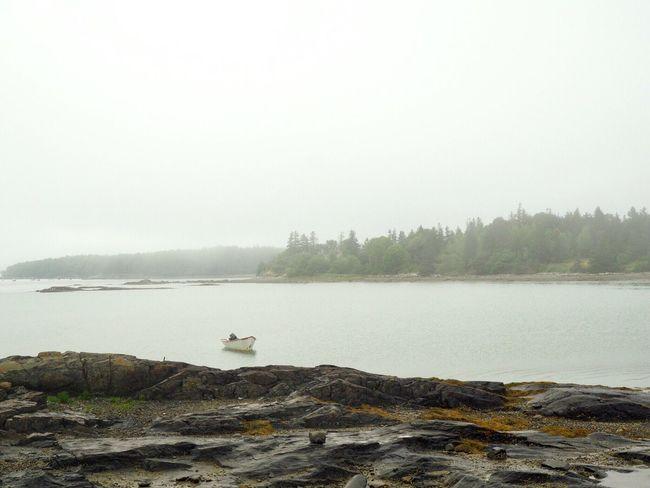 Deer Isle, Maine Boat Deer Isle Foggy Sea Maine Water Nature Tranquility Scenics - Nature Day No People Fog Beach