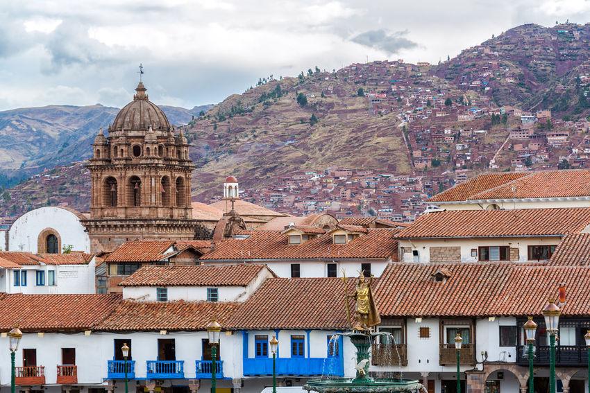 View from the Plaza de Armas in the center of Cuzco, Peru Achitecture America Andes Building Capital Center City Colonial Cusco Cuzco Historic Inca Landmark Machu Picchu Old Peru Peruvian Sacred Stone Town Travel Unesco Urban World