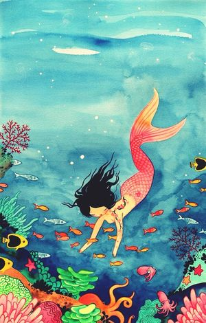 Beautiful Watercolor Ilustracion Mermaid Blue Colorful Pinterest
