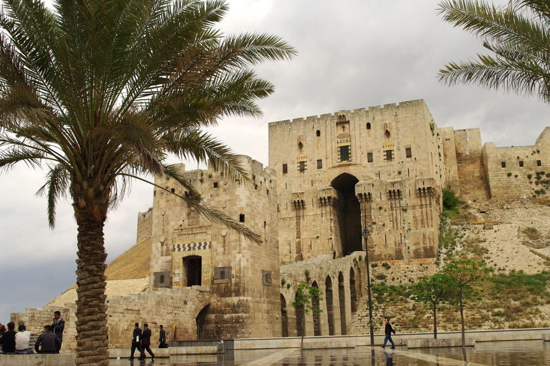 Syria  Aleppo Aleppo Castle Ancient Ancient Civilization Arch Archaeology Architecture Building Exterior Built Structure Cloud - Sky Day History Men Old Ruin Outdoors Palm Tree Place Of Worship Real People Sky The Past Tourism Travel Travel Destinations Tree