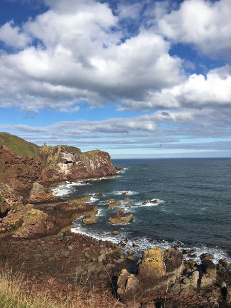 Sea Sky Nature Horizon Over Water Beauty In Nature Tranquility Tranquil Scene Water Scenics Cloud - Sky Day Outdoors No People Landscape Beach Cliff Scotland St Abbs