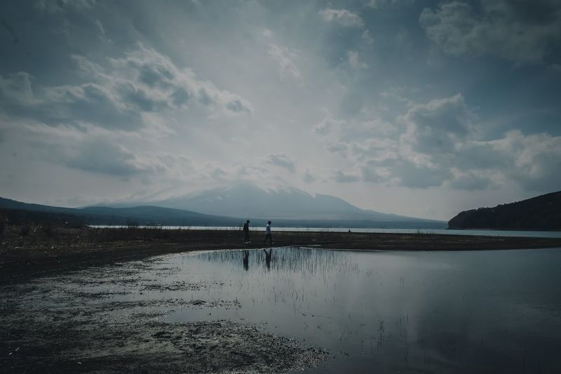 Japan Mt.Fuji Sky Cloud - Sky Water Mountain Beauty In Nature Scenics - Nature Tranquil Scene Tranquility Non-urban Scene Beach Mountain Range Land Lake Reflection Day Idyllic Nature Outdoors