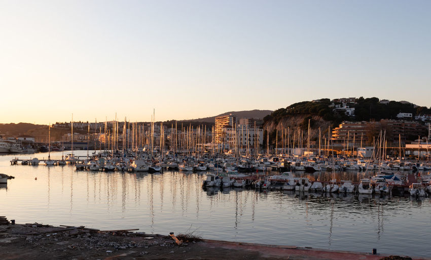 Beautiful panoramic of arenys de mar port in el maresme coast, barcelona.
