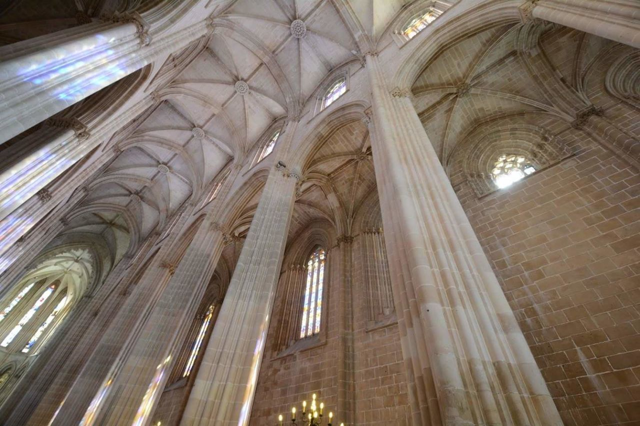 architecture, low angle view, history, architectural column, indoors, no people, day