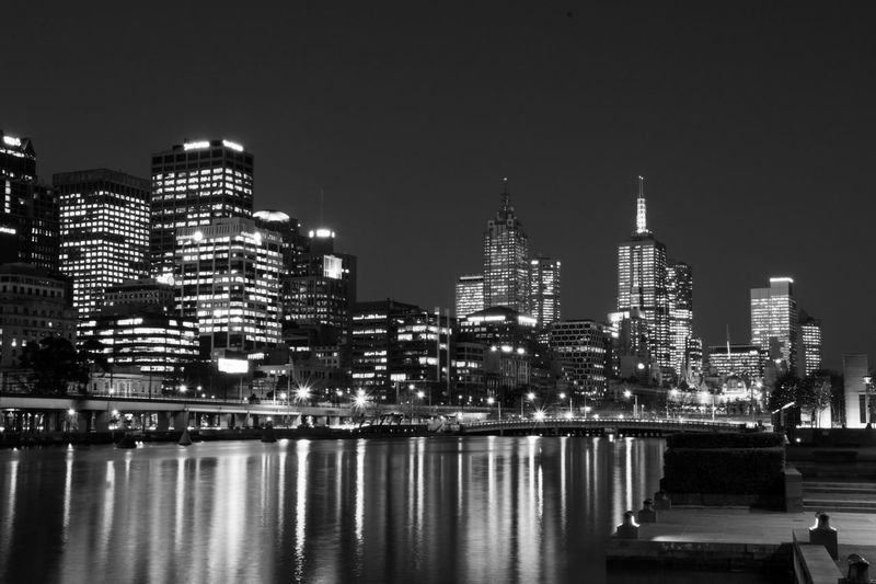 ❤Black and White Photographs❤ Cityscapes Night Photography Clouds And Sky Skyscrapers Lights In The Dark Reflections In The Water ClourPorn Riverside Melbourne City Australia❤️ Citylights Cityscape Black & White
