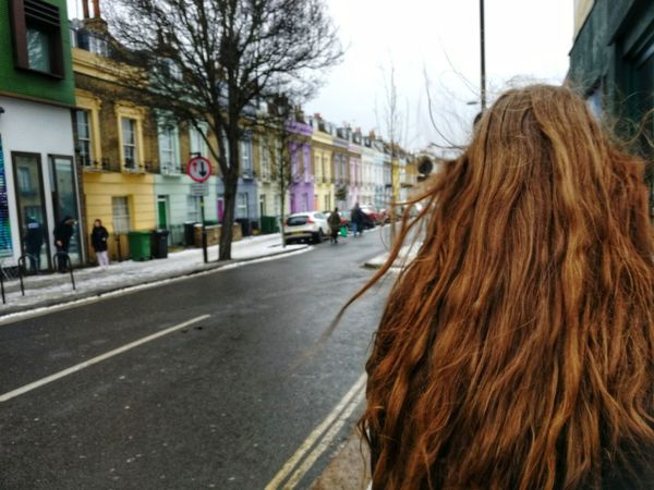 London Winter Snow Blurred Motion Young Adult Young Women Cute Houses Pastel Colors Camden Building Exterior Architecture Built Structure Street Road City Long Hair Outdoors Day One Person Only Women Real People