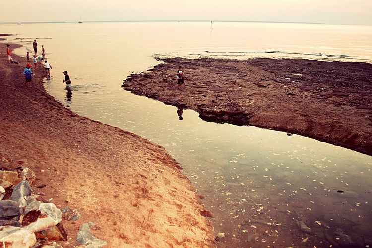 Kids at play sunset beach Sunset Beach Kids At Play Water Water Reflection Sand Water Beach