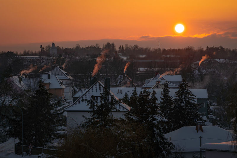 Scenic view of townscape against sky during sunset