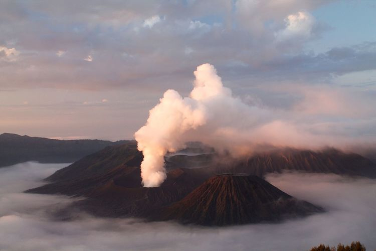 Active Volcano At Bromo-Tengger-Semeru National Park Against Cloudy Sky