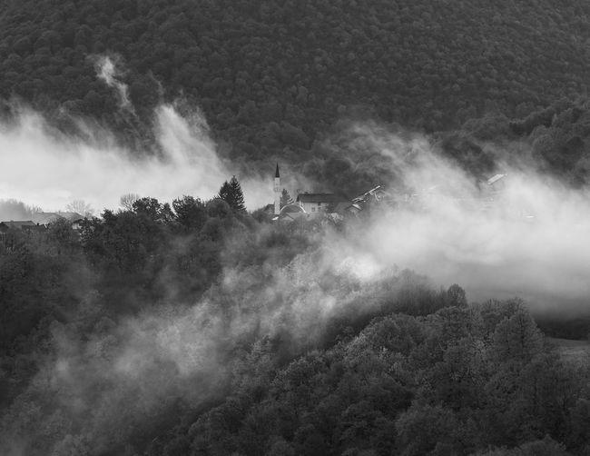 High angle view of waterfall on mountain