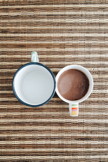 The OO Mission Cups Beverage Beverages Hot Chocolate Chocolate Chocolate Milk Rattan Above High Angle View Top Perspective Top View Water Drink Drinks Empty No People Showcase July Festival Season Eyeemphoto A Bird's Eye View Two Is Better Than One TakeoverContrast