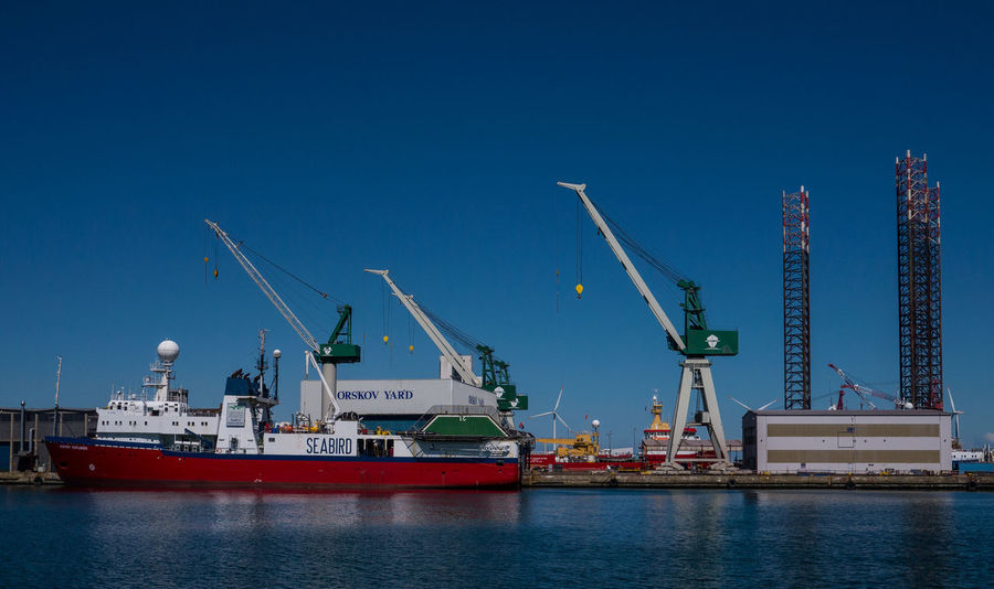 Commercial Dock Crane Denmark Frederikshavn Harbor Harbour No People Oil Platform Ship