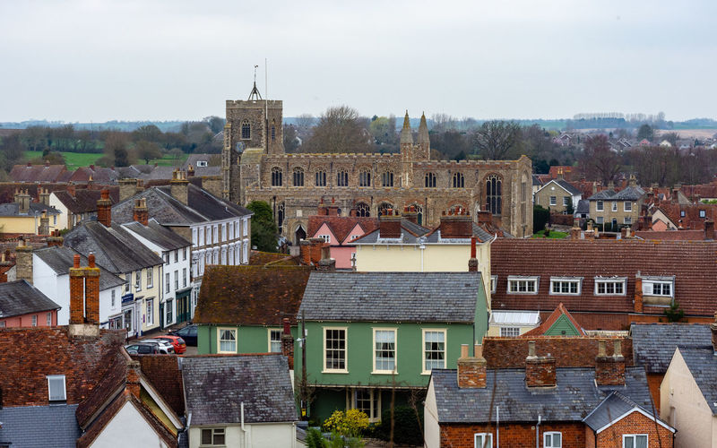 Clare church and view of the roof tops of the town. Clare Suffolk, United Kingdom Architecture Building Exterior Built Structure Building Residential District Roof Town High Angle View TOWNSCAPE Roof Tops Church View Townscapes