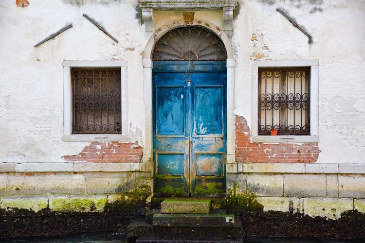 Door Closed Entrance Window Architecture Rustic Outdoors Doorway Blue No People Day Venice Wood - Material