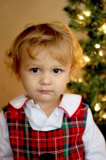Portrait of cute boy against christmas tree