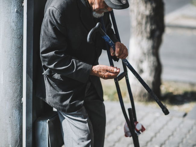 Follow me ‼️- https://www.instagram.com/david_sarkisov_photography/ Camera : Nikon D610 / Lens 85.00 mm f/1.4 Activity Adult Casual Clothing Clothing Contemplation Day Focus On Foreground Holding Leisure Activity Lifestyles Males  Men One Person Outdoors Real People Senior Men Side View Standing Three Quarter Length Walking Cane Warm Clothing A New Beginning This Is Strength 50 Ways Of Seeing: Gratitude The Modern Professional Human Connection Capture Tomorrow
