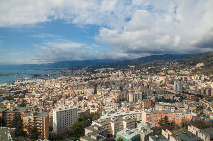 Panorama from Erzelli Tower. Genova Aerial View Architecture Building Exterior Built Structure City Cityscape Cloud - Sky Crowded Day High Angle View Nature Outdoors Scenics Sea Sky Travel Destinations Water