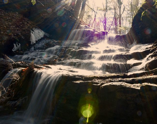Waterfalls And Sunshine Beauty In Nature Day Forest Freshness Lens Flare Long Exposure Motion Nature No People Outdoors Scenics Sunlight The Great Outdoors - 2017 EyeEm Awards Tranquil Scene Tranquility Travel Destinations Tree Tree Trunk Water Waterfall