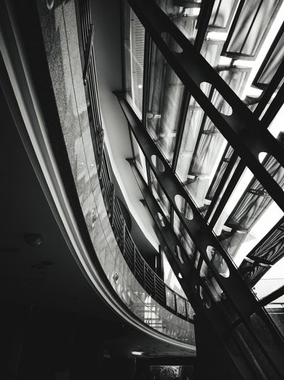Interior architectures Blackandwhite Monochrome Smartphonephotography Smart Phone P20 Pro Backgrounds Building Exterior Building Metalartwork Metalart P20pro P20prophotography Steps Staircase Railing Architectural Design Architecture And Art LINE Architectural Feature Architectural Detail