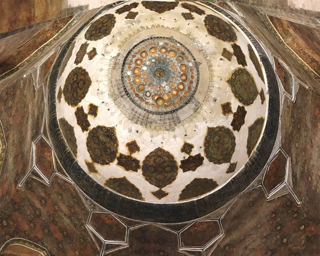 Iran Ardebil Safavid Dome Ceiling Architecture Mausoleum Iranian Architecture Islamic Architecture Pattern No People Indoors  Geometric Shape Shape Circle Table Design High Angle View Art And Craft Creativity Decoration Craft