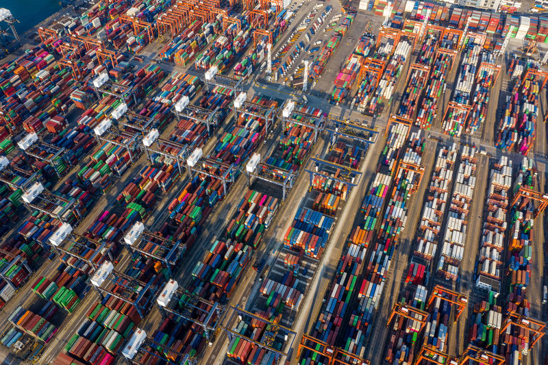 Cargo terminal in Hong Kong aerial Architecture Multi Colored Transportation City Aerial View Mode Of Transportation High Angle View Building Exterior No People Business Large Group Of Objects Street Outdoors Industry Day Car Motor Vehicle Road Travel Cityscape Apartment