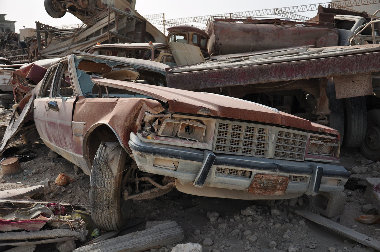 abandoned, damaged, car, obsolete, transportation, run-down, deterioration, destruction, bad condition, land vehicle, rusty, mode of transport, no people, day, outdoors