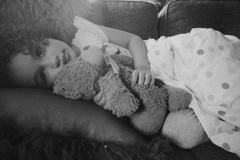 Little Nico and Teddy Childhood Relaxing Reflection Indoors  Toy Teddy Bear