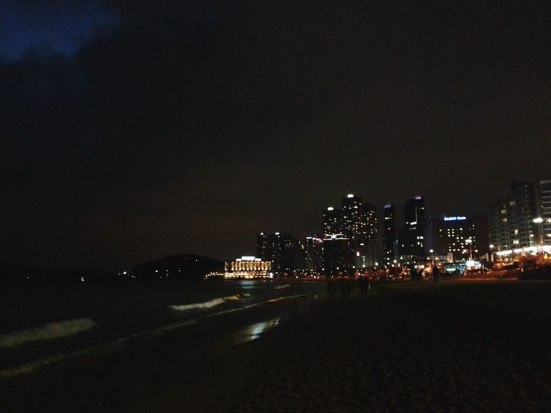 Night Lights Nightphotography Night Beach Beach Night Busan Busan Haeundae Light And Shadow Cellphone Photography South Korea