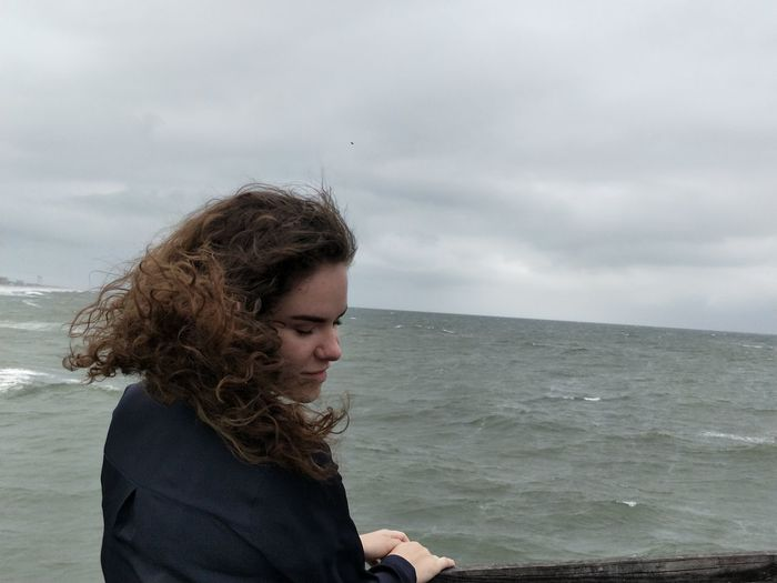 Beach Beautiful Woman Beauty In Nature Curly Hair Day Horizon Over Water Leisure Activity Lifestyles Nature One Person Outdoors People Real People Sea Sky Standing Water Young Adult Young Women EyeEmNewHere