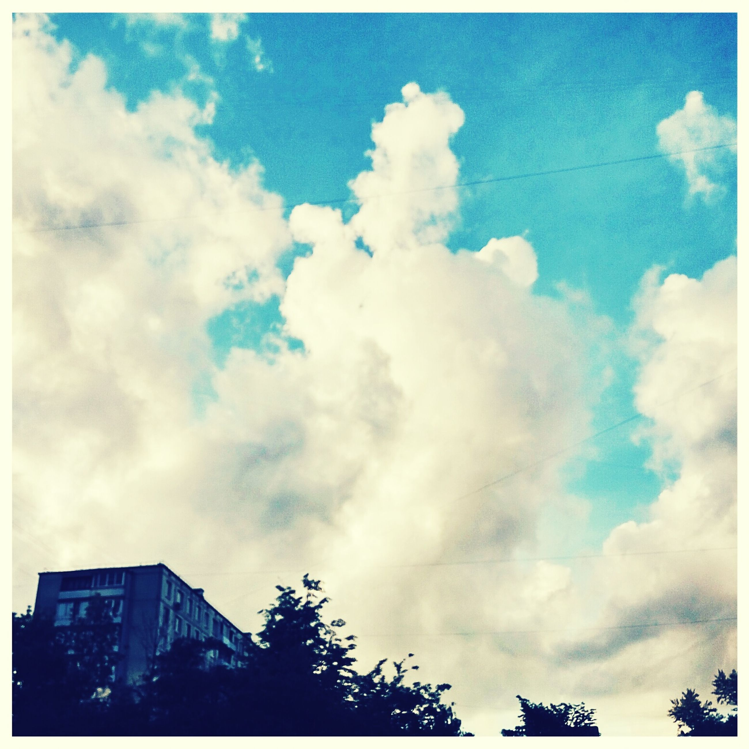 sky, low angle view, building exterior, cloud - sky, architecture, built structure, transfer print, cloudy, cloud, auto post production filter, blue, high section, city, building, outdoors, silhouette, no people, day, nature, tree
