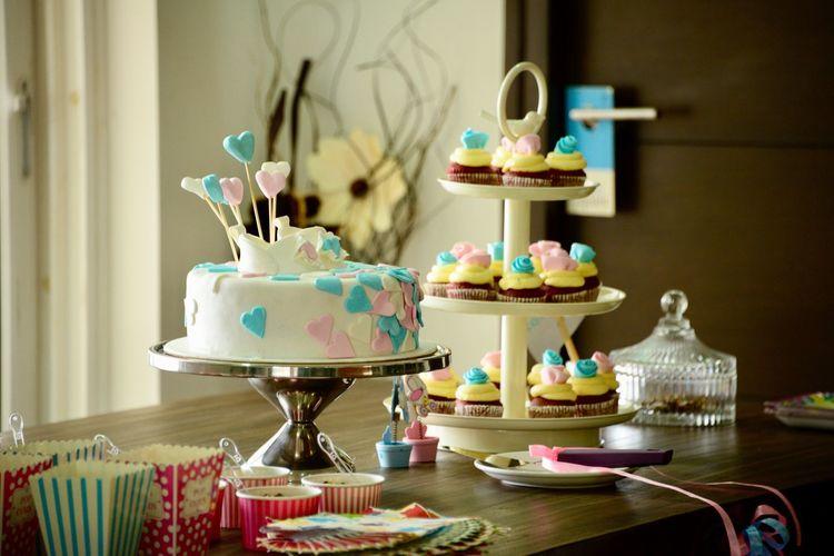 Desserts of birthday cake on table