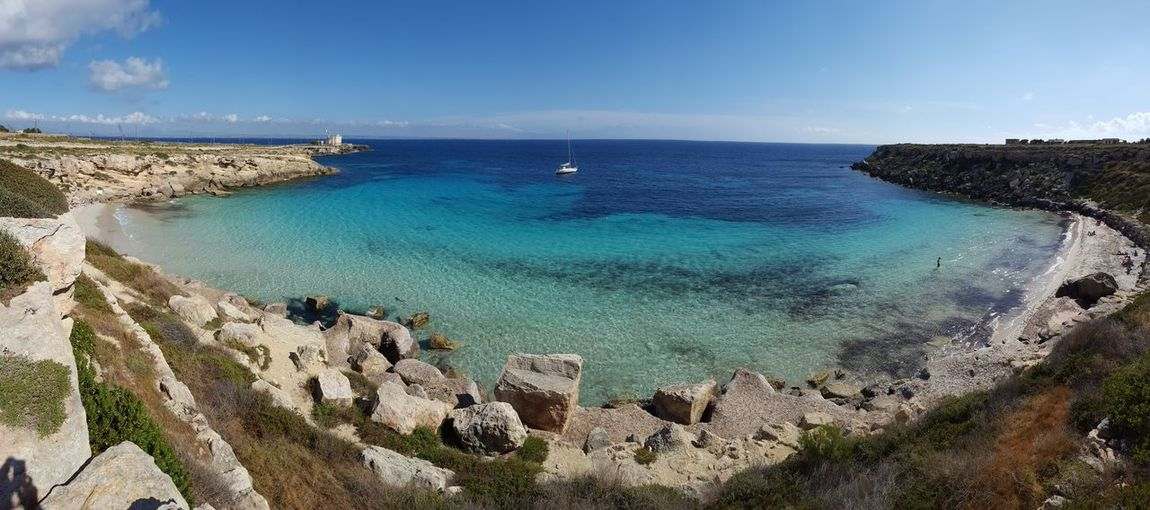 Favignana Isole Egadi Egadi Islands Holidays Favignana's Sea Sicilia Sicily Beach Beauty In Nature Blue Boat Day High Angle View Horizon Over Water Nature No People Outdoors Rock - Object Sailboat Scenics Sea Sky Tranquil Scene Tranquility Travel Destinations Water
